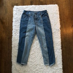 American Eagle Two Tone Raw Hem Jeans Button Fly